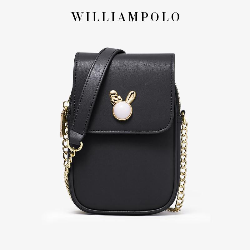 WILLIAMPOLO 英皇保羅 潮流少女真皮手機包女小方包百搭 大容量包包 日韓風係小包包鏈袋包 女生側背斜挎包包