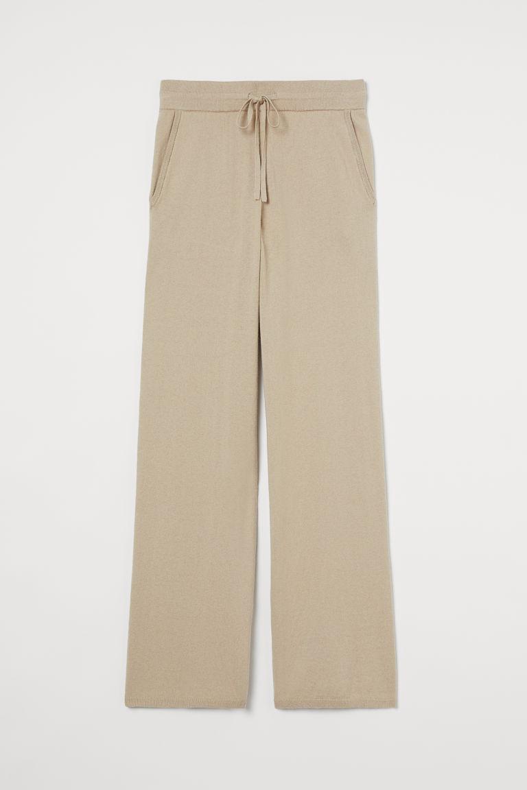 H & M - 喀什米爾羊毛混紡慢跑褲 - 米黃色