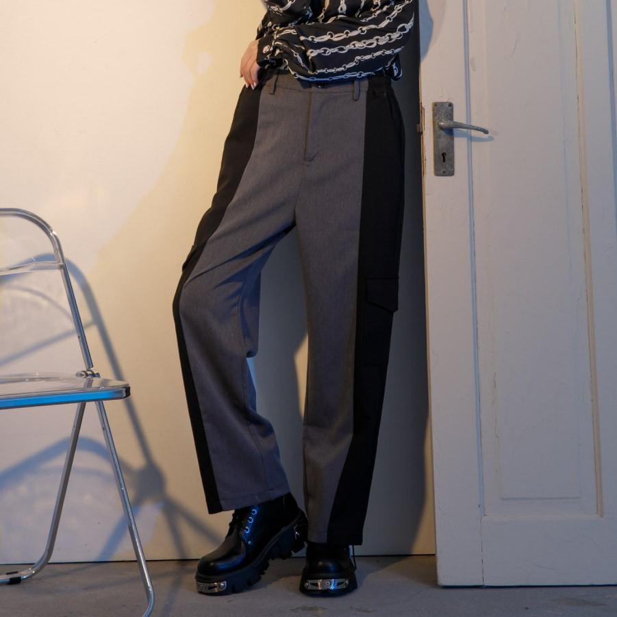 X.O.X.O.UNISEX雙色拼接工裝口袋西裝長褲