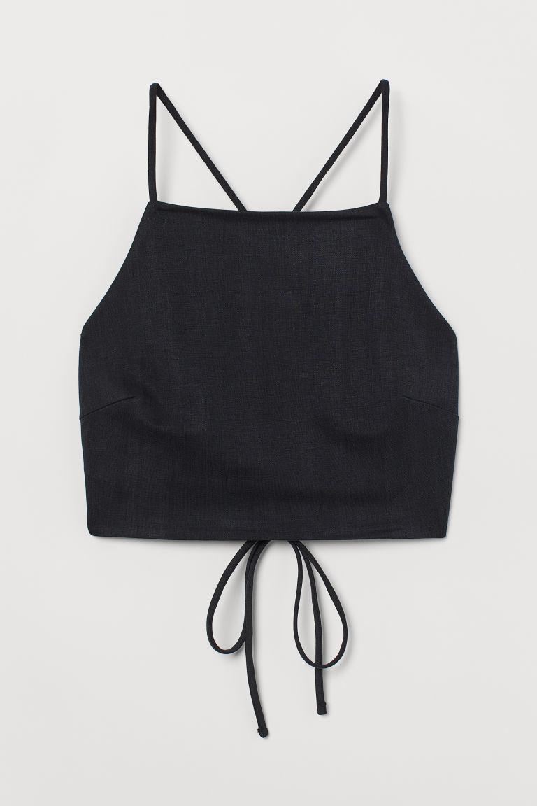 H & M - 短版露背上衣 - 灰色