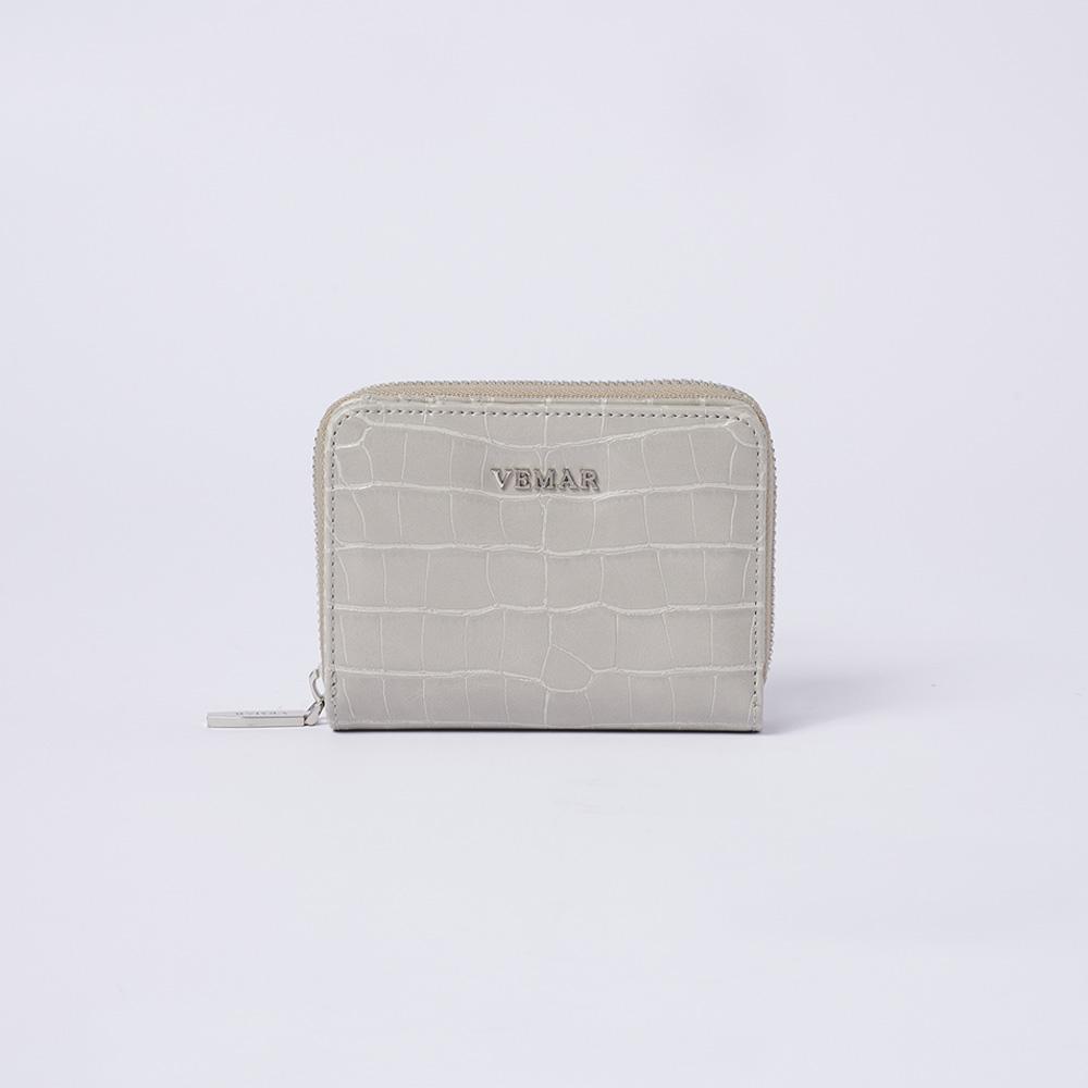 VEMAR氣質時尚拉鍊鱷魚紋短夾(質感灰)