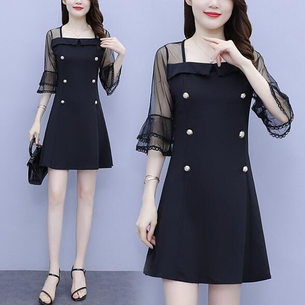 洋裝 拼接 裙子中大尺碼L-5XL新款修身顯瘦法式複古氣質方領網紗拼連身裙4F003-1701.胖胖唯依