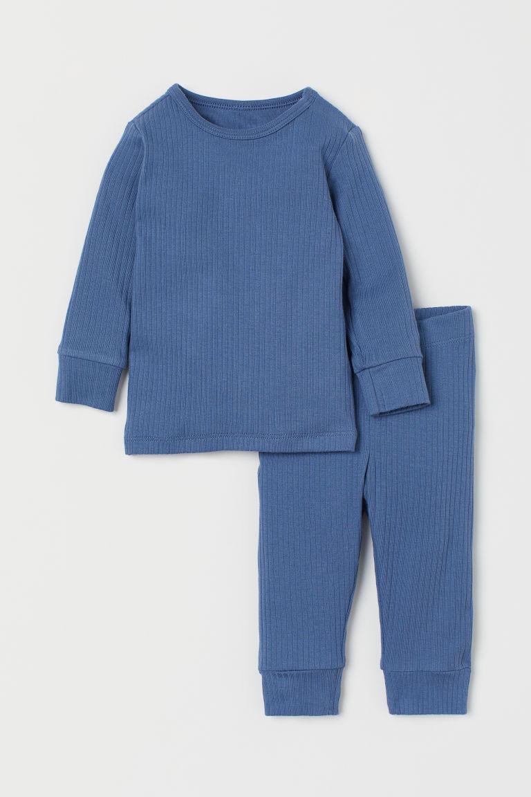 H & M - 羅紋棉質套裝 - 藍色