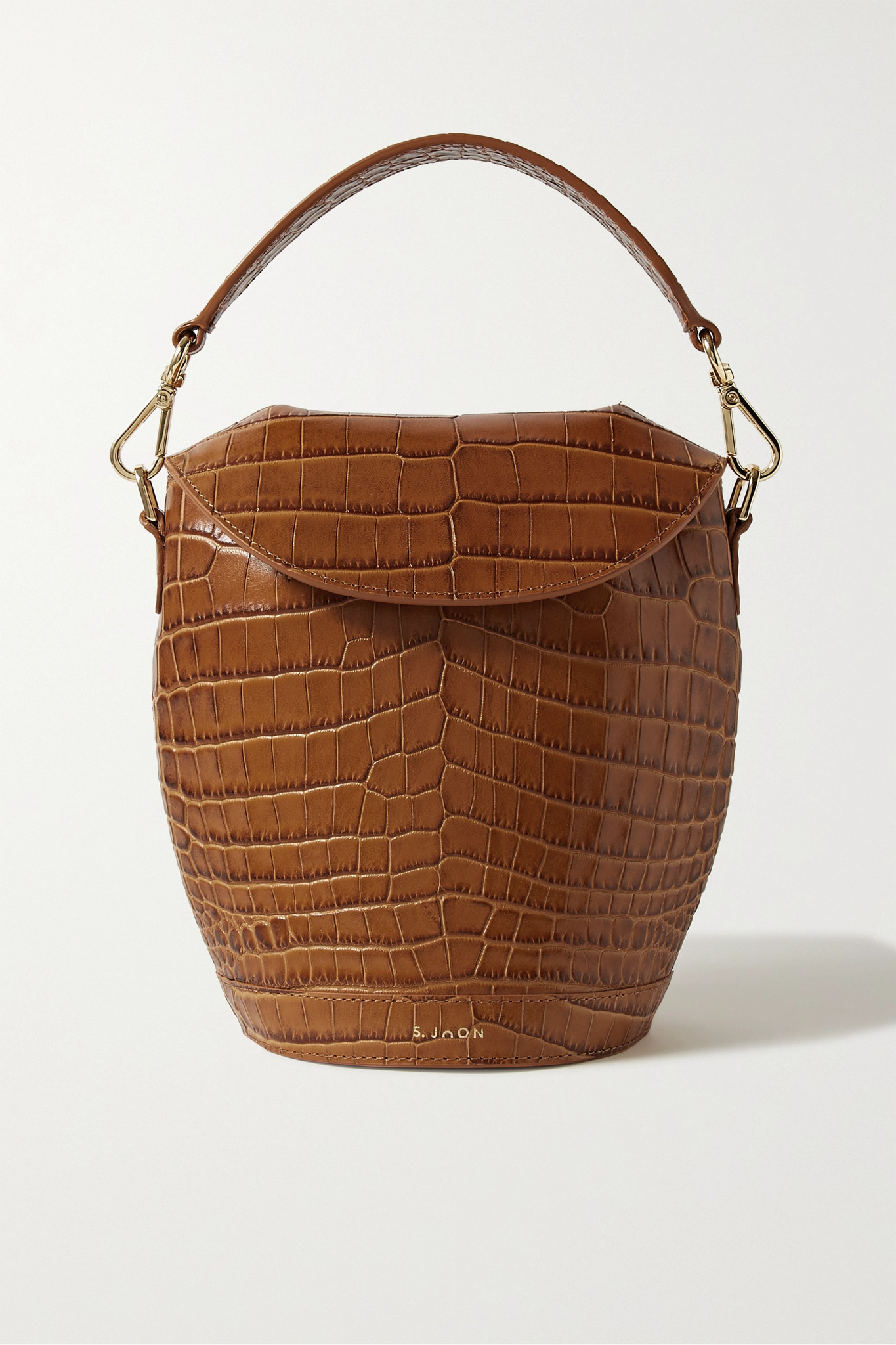 S.JOON - Milk Pail Croc-effect Leather Tote - Brown - one size