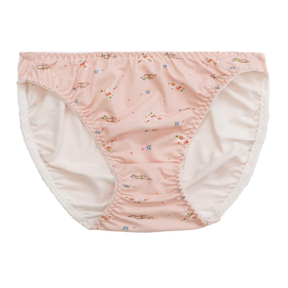 棉感花色小褲-白兔粉