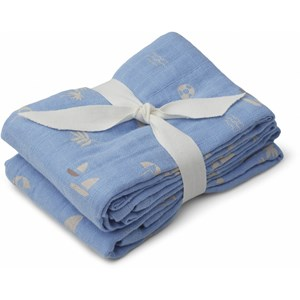 Liewood Liewood 2-Pack Seaside/Sky Blue Lewis Muslin Cloths One Size