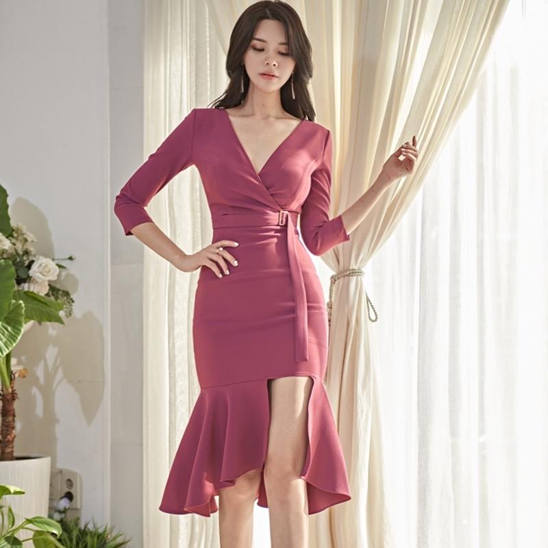 正韓洋裝七分袖合身魚尾洋裝宴會禮服婚禮洋裝謝師宴洋裝