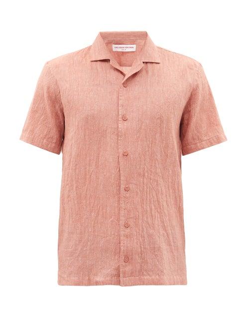 Orlebar Brown - Hibbert Short-sleeved Slim Shirt - Mens - Dark Pink