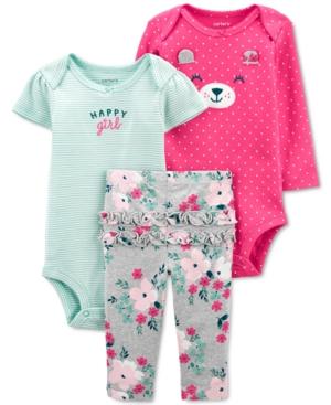 Carter's Baby Girls 3-Pc. Cotton Bear Bodysuits & Pants Set