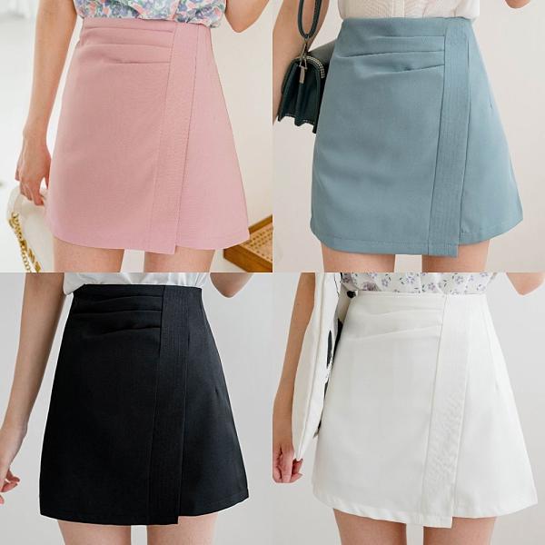 MIUSTAR 前壓褶車線拉鍊式斜角褲裙(共4色,S-L)【NJ1526】預購