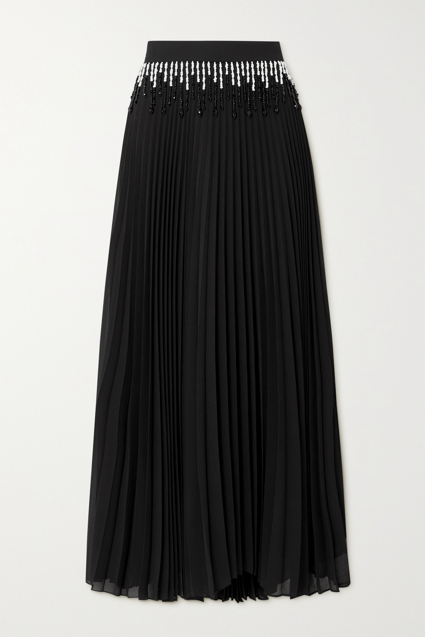 CHRISTOPHER KANE - Bead-embellished Pleated Crepe Maxi Skirt - Black - IT42