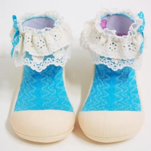 Attipas 快樂腳襪型學步鞋-淑女藍