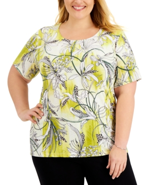 Jm Collection Plus Size Floral-Print Top, Created for Macy's