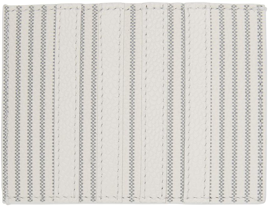 Thom Browne 白色 4-Bar 条纹卡包