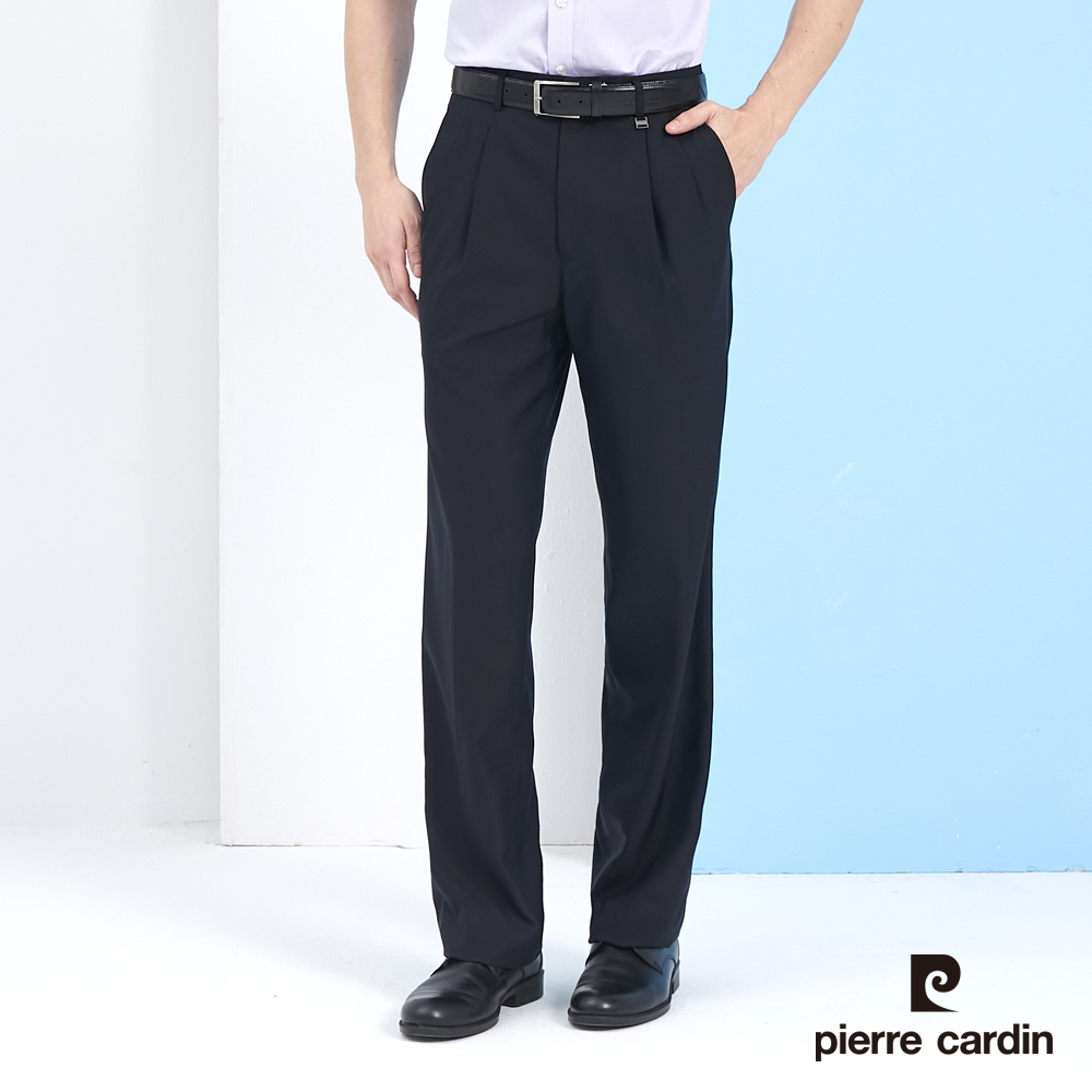 【pierre cardin 皮爾卡登】 男裝素色打摺西裝褲-丈青色 (5217845-39)