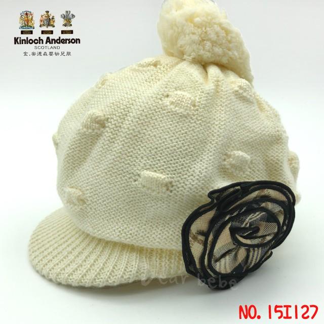 【金安德森】經典格紋小花針織帽│毛線帽 造型帽 經典格 花朵毛線帽 台灣製造 15I127