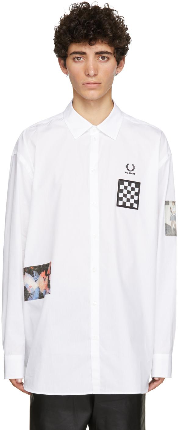 Raf Simons 白色 Fred Perry 联名大廓形贴饰衬衫