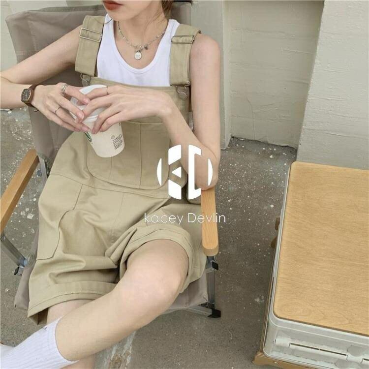 寬鬆休閒工裝褲背帶褲子女春夏連身褲高腰垂感短褲【聚物優品】