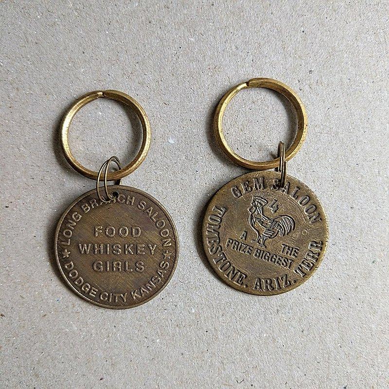 美國古董老物 | Long Branch/Gem Saloon 歷史特殊令牌黃銅鑰匙圈