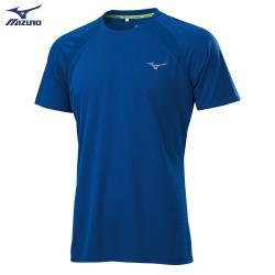 MIZUNO 男裝 短袖 T恤 路跑 吸汗快乾 反光燙印 剪接透氣網布 深藍【運動世界】J2TA100522