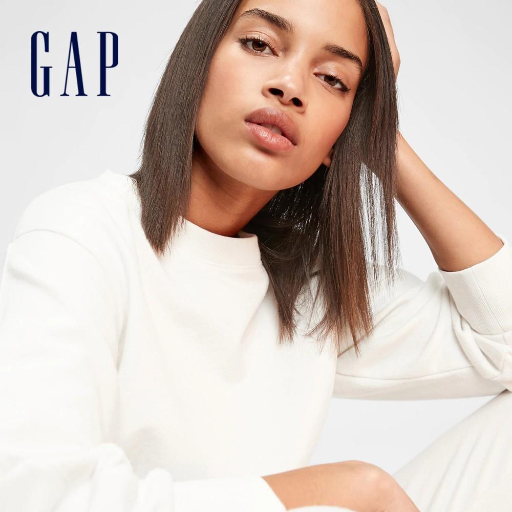 Gap 女裝 簡約運動法式圈織軟休閒上衣 650681-灰白色