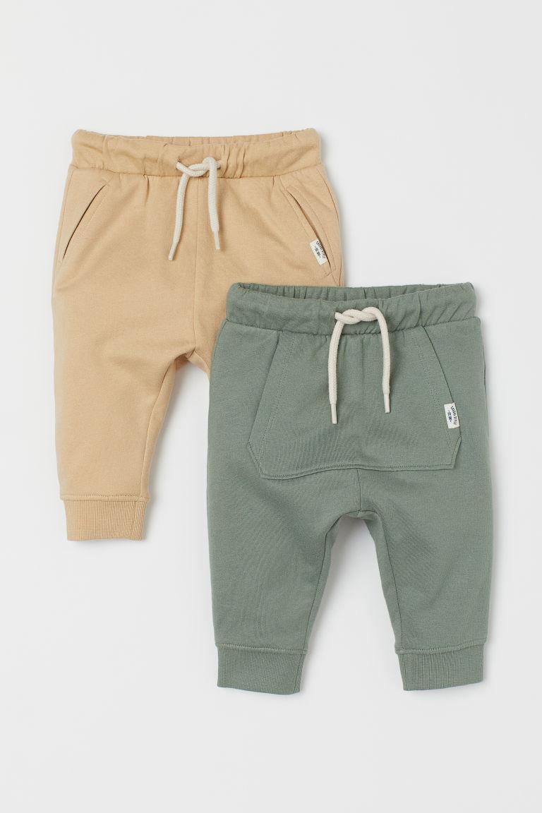 H & M - 2件入棉質慢跑褲 - 綠色