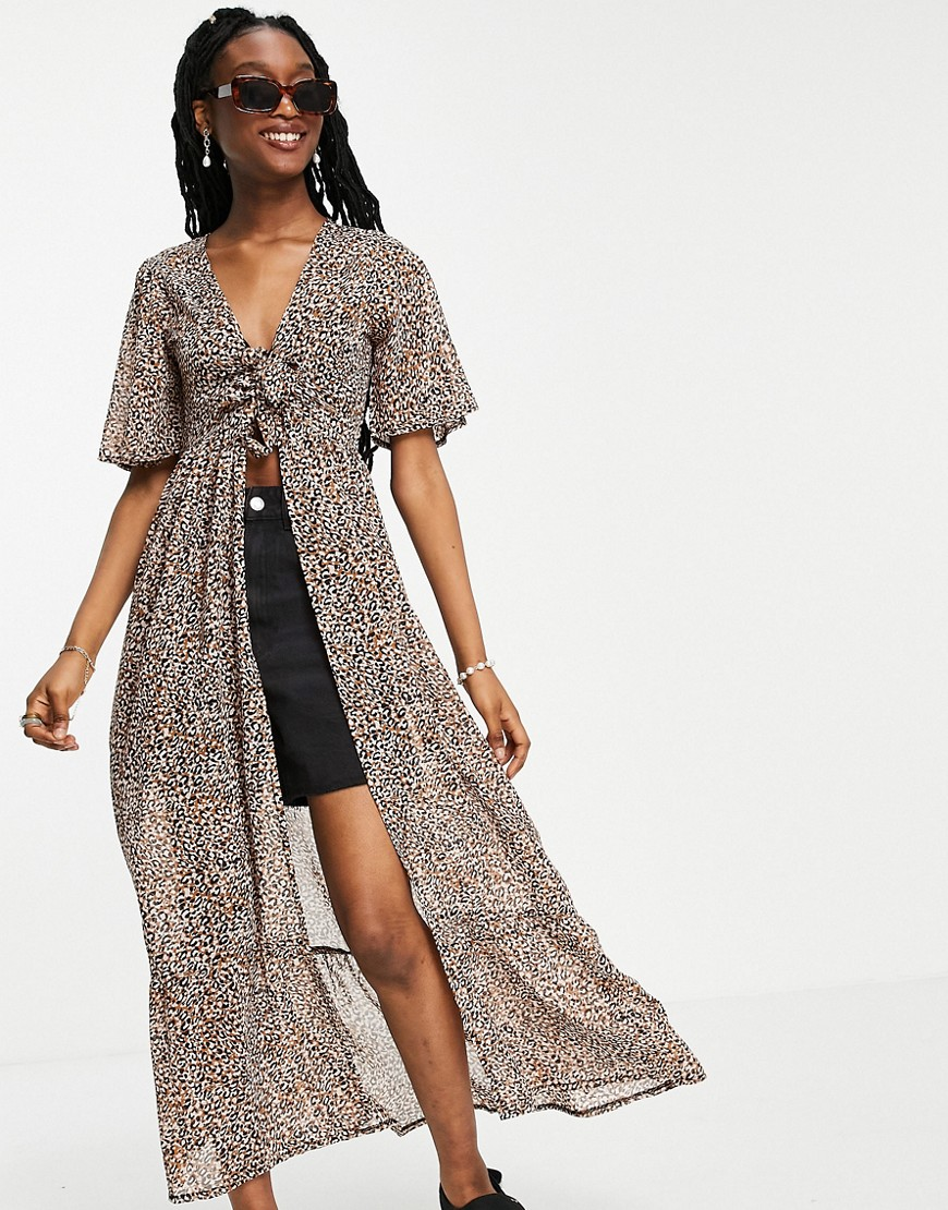 Influence tie front maxi dress in leopard print-Brown