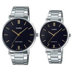 【CASIO 卡西歐】簡約指針對錶 不鏽鋼錶帶 黑色錶面 日常生活防水(MTP-VT01D-1B + LTP-VT01D-1B)
