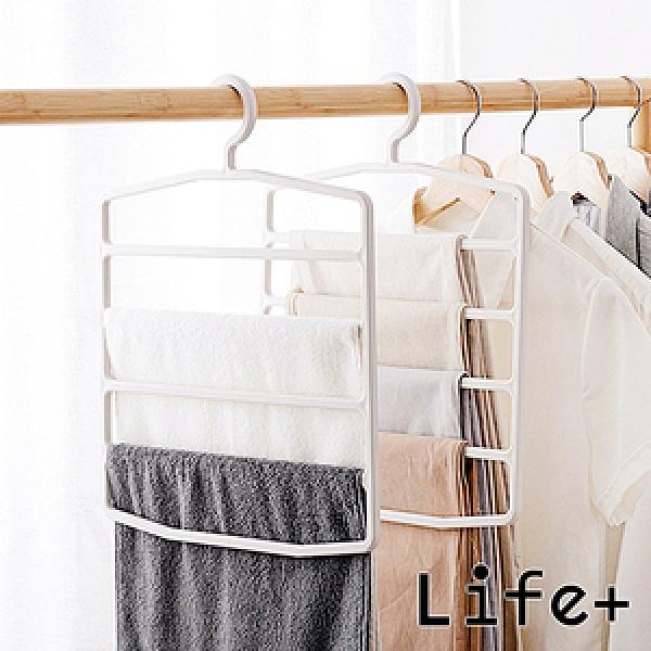 Life Plus極簡系五層衣褲收納架2入米白色
