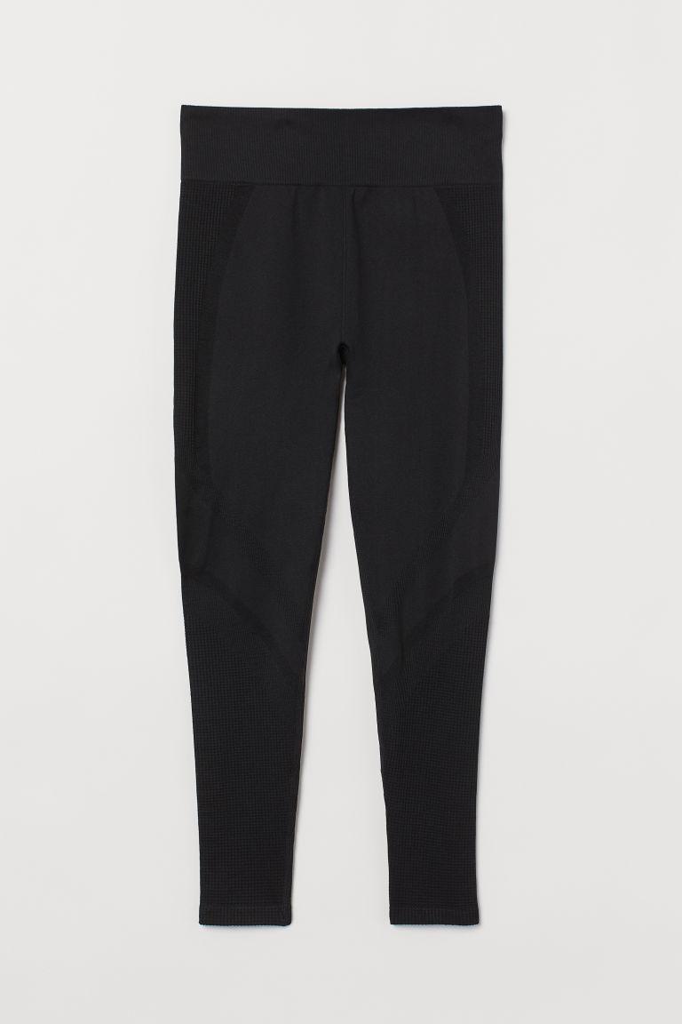 H & M - H & M+ 無痕緊身運動褲 - 黑色