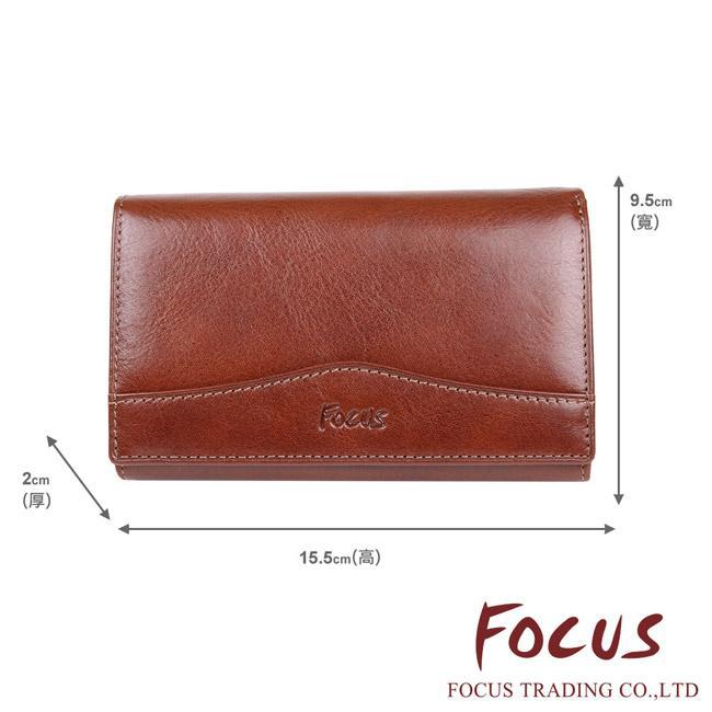 【FOCUS】經典原皮 3卡多功能造型中夾 拉鍊零錢包皮夾 咖啡色 FTC3363