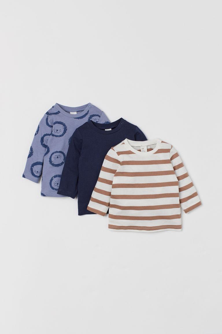 H & M - 3件入棉質上衣 - 藍色