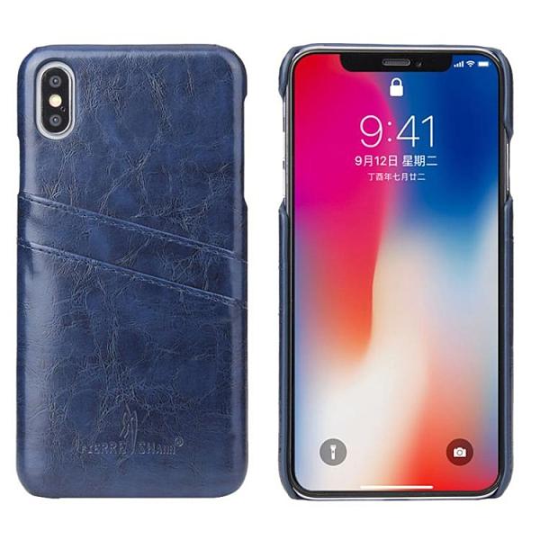 手機配件 適用iPhone XS復古油蠟手機皮套保護殼 商務插卡蘋果XR單底后殼手機殼 手機套 皮套