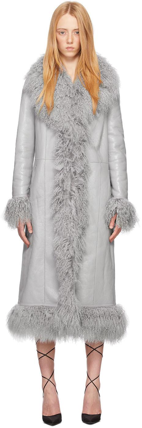 Saks Potts 灰色 Bonnie 小羊皮大衣