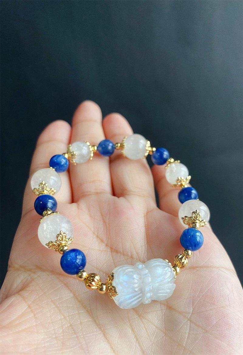 並蒂蓮 月光 藍晶石 設計款手鍊 天然石 客製化 禮物 閨蜜 安撫