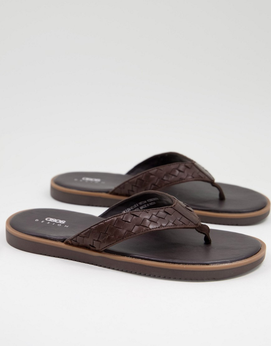 ASOS DESIGN flip flop with woven leather strap in brown