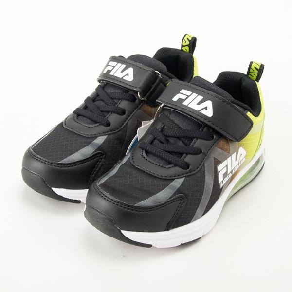 FILA  兒童氣墊慢跑鞋-黑/綠 3-J808U-361  現貨