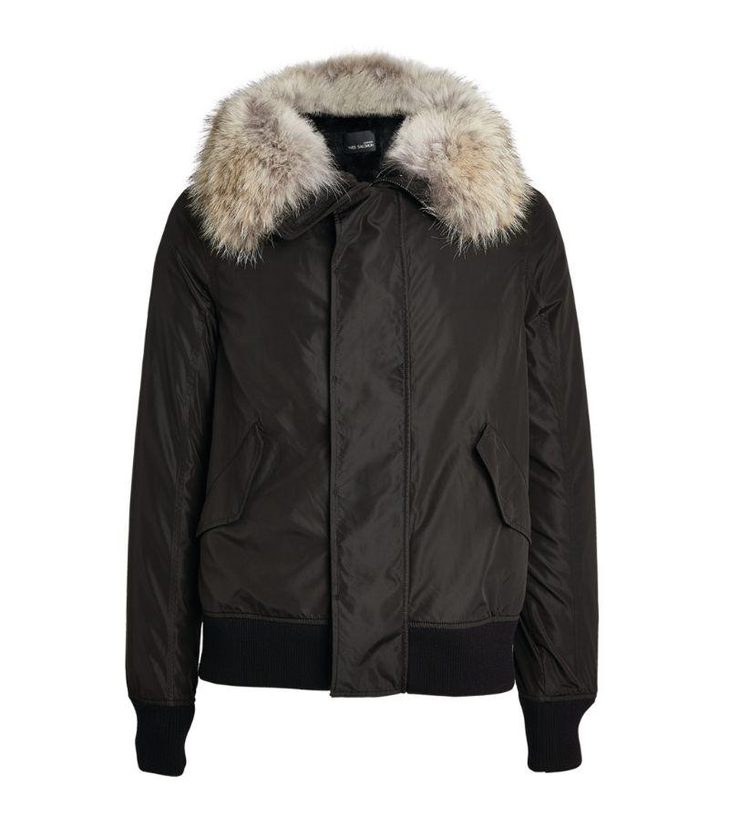 Yves Salomon Homme Rabbit Fur-Trim Bomber Jacket