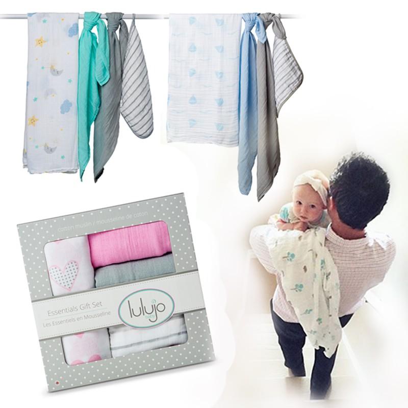 【禮盒系列】lulujo嬰兒包巾四入組-三款可選