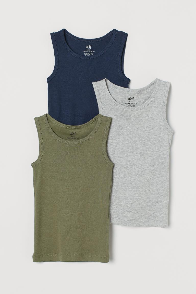 H & M - 3件入背心上衣 - 藍色