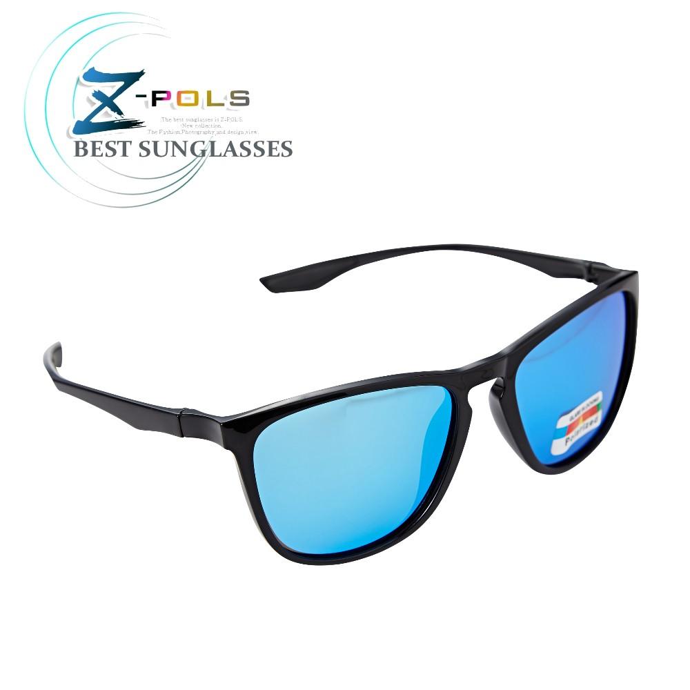 【Z-POLS】名牌風格TR90輕量框體材質 搭REVO電鍍藍Polarized寶麗來偏光抗UV400太陽眼鏡