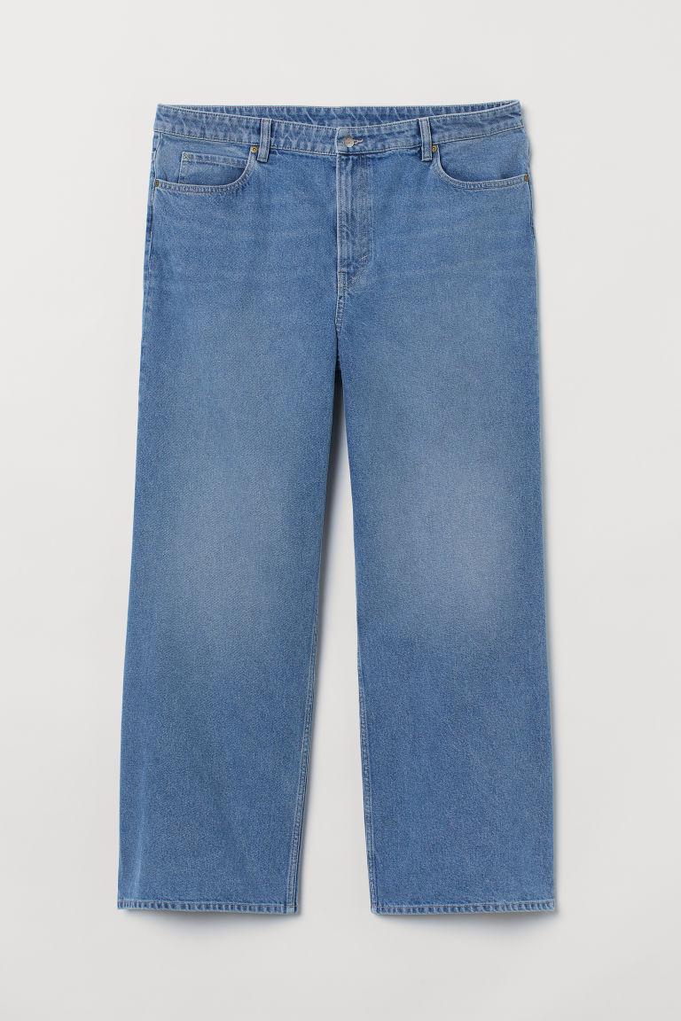 H & M - H & M+ 寬鬆高腰牛仔褲 - 藍色