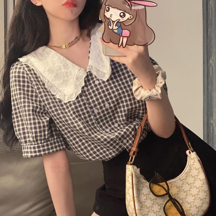 娃娃衫 短袖襯衫 格紋上衣 襯衫 氣質 韓版 甜美 泡泡袖 撞色 娃娃領 短袖 上衣 女生 衣著