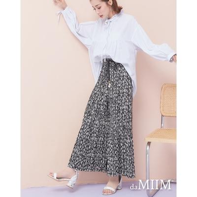 MIIM不規則斑紋細摺寬褲-黑白斑紋
