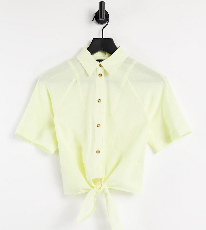 ASOS DESIGN Petite linen short sleeve shirt with tie front in lemon-No colour