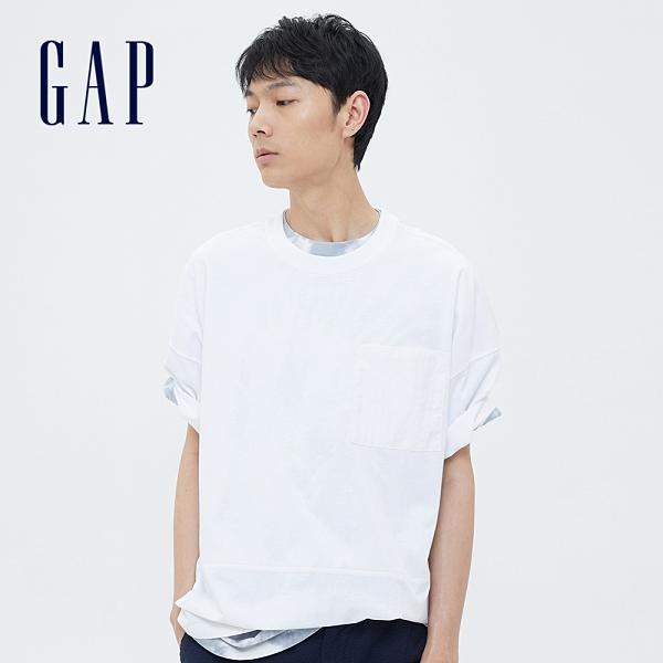 Gap男裝 厚磅密織系列街頭風純棉拼接寬鬆T恤 697676-白色