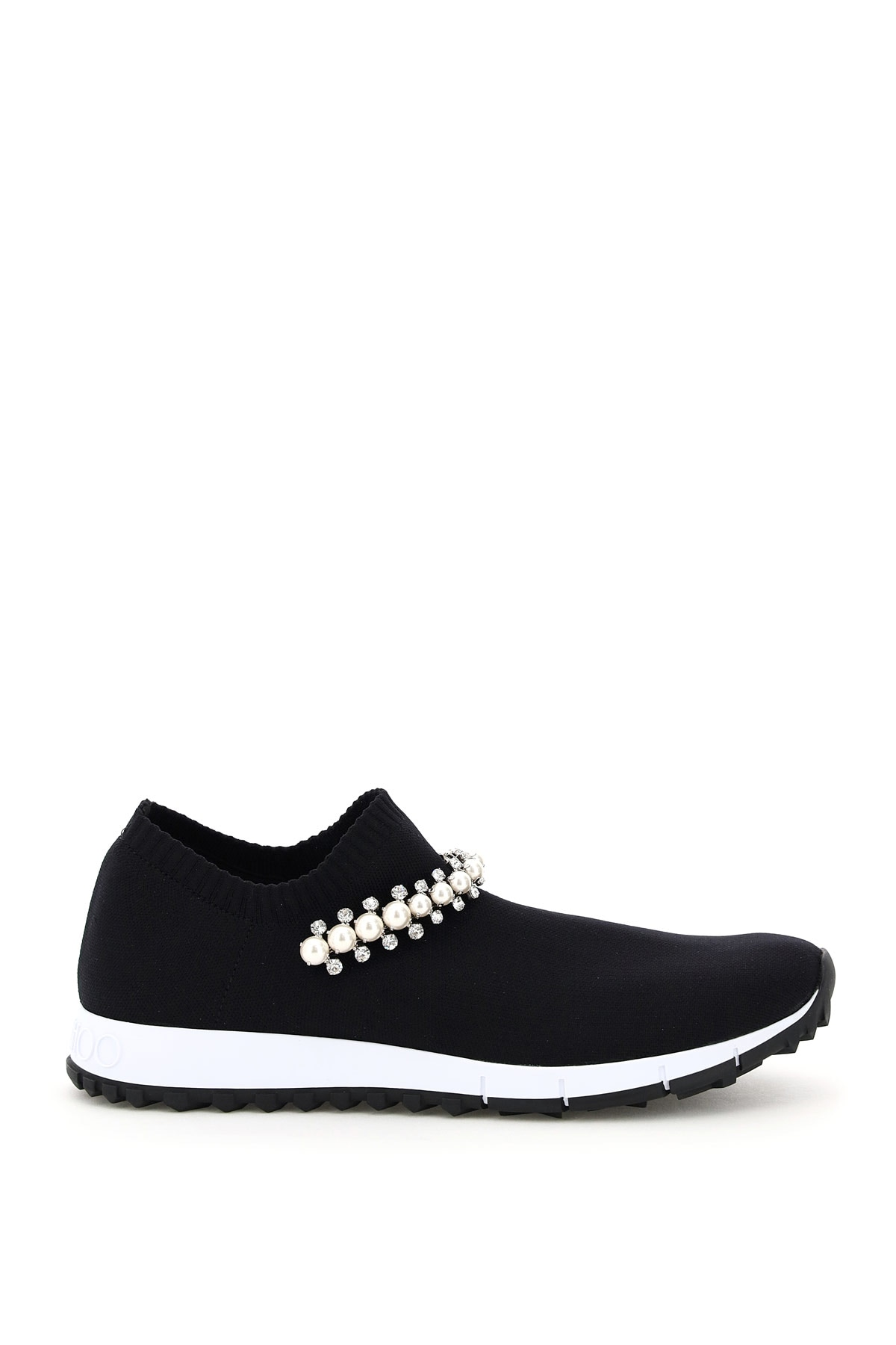 JIMMY CHOO VERONA SNEAKERS WITH CRYSTALS AND PEARLS 39 Black Technical