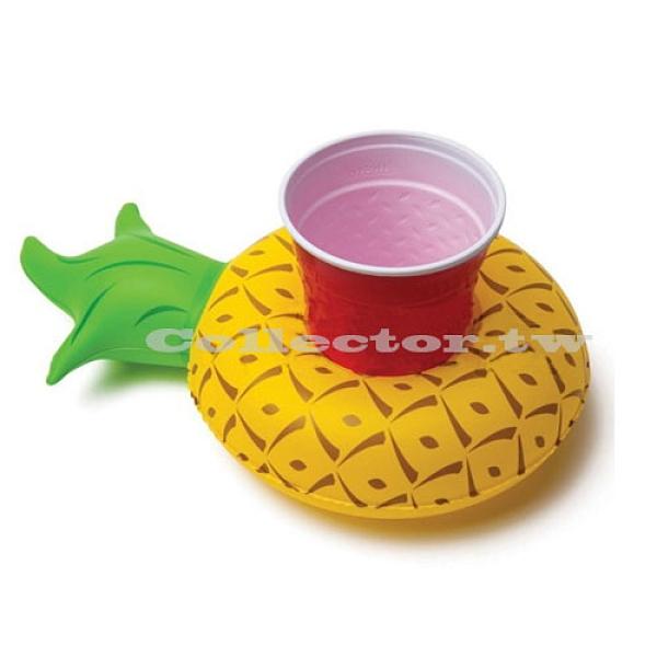 充氣式鳳梨造型飲料套 游泳池可樂套 鳳梨造型充氣杯座 夏日必備