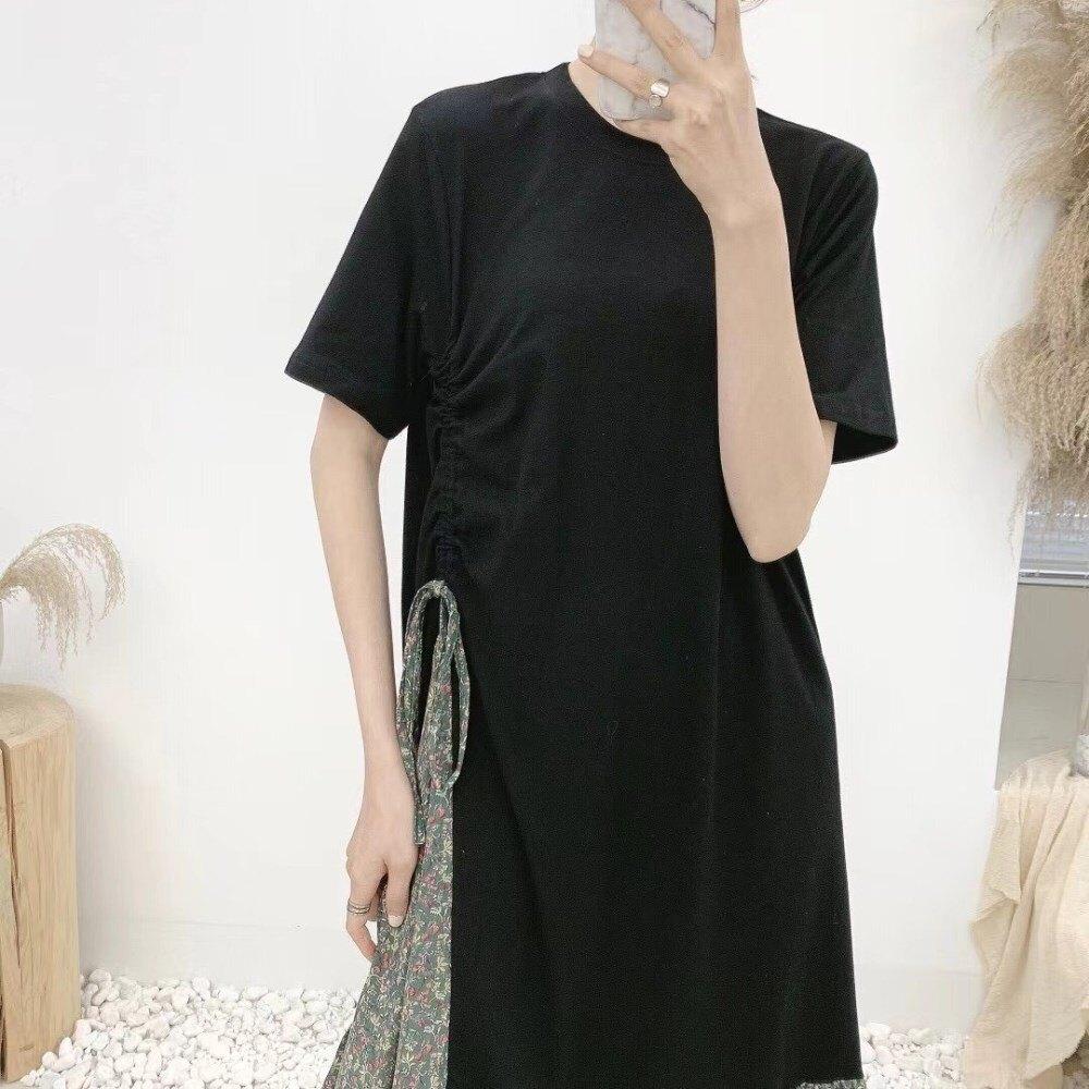 【薄荷小舖】2021春季新款抽繩接花洋長裙