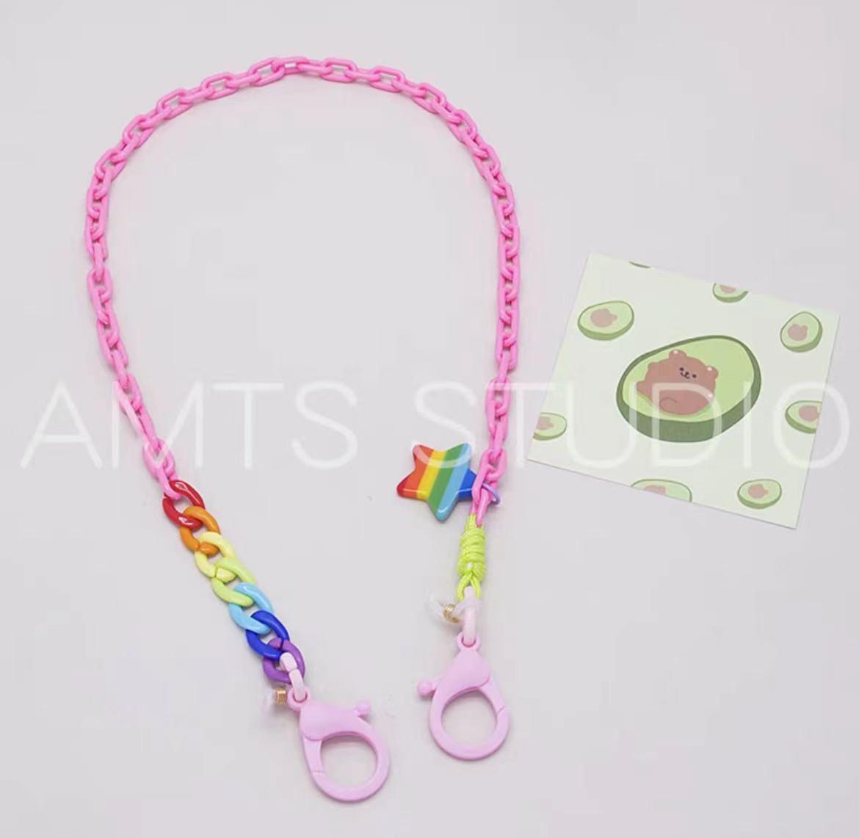 韓版設計師同款原創  編織手作時尚彩虹小花口罩繩